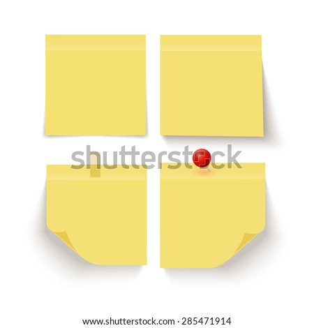 Set of yellow sticky notes on grey background. Vector illustration - stock vector