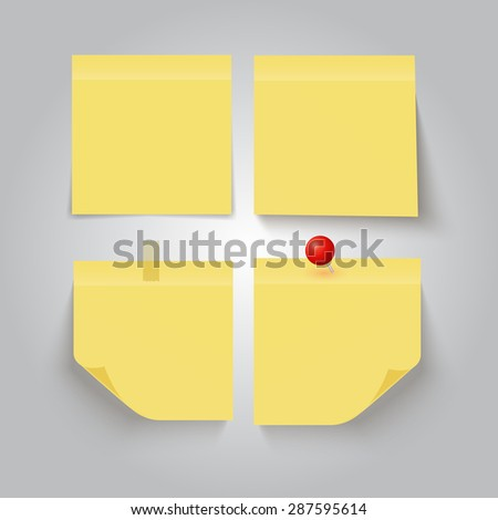 Set of yellow sticky notes on grey background. Vector illustration