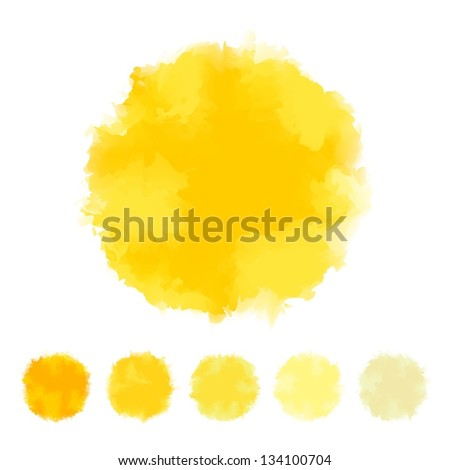 Set of yellow tone water color round shape design for brush, textbox, design element, VECTOR EPS10 - stock vector