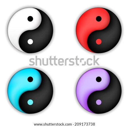 Set of yin-yang circle vector icon - stock vector