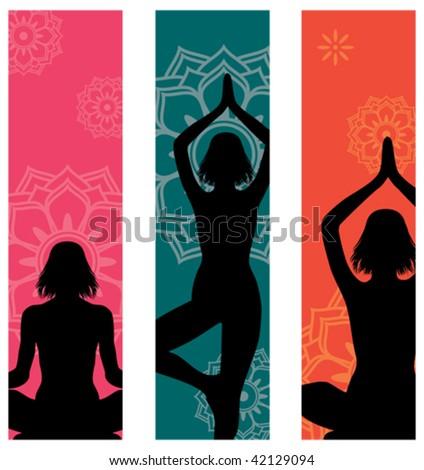 Set of 3 yoga banners - stock vector