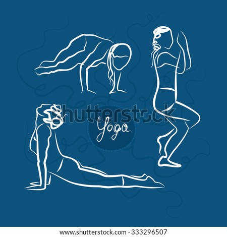 Set Of Yoga Poses. Blue Background