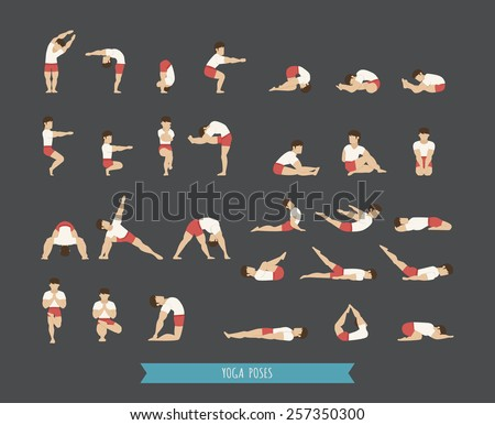 Set of yoga poses , eps10 vector format - stock vector