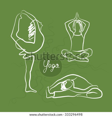 Set Of Yoga Poses. Green Background - stock vector