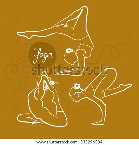 Set Of Yoga Poses. Yellow Background