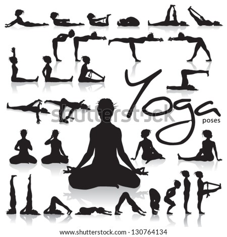 Set of Yoga postures made by figure silhouettes - stock vector