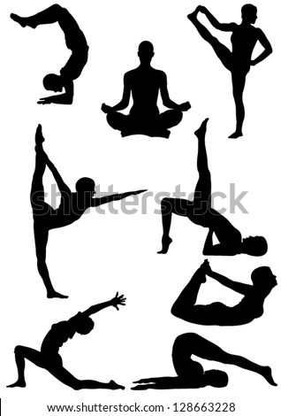 Set of Yoga Silhouette . Vector illustration - stock vector