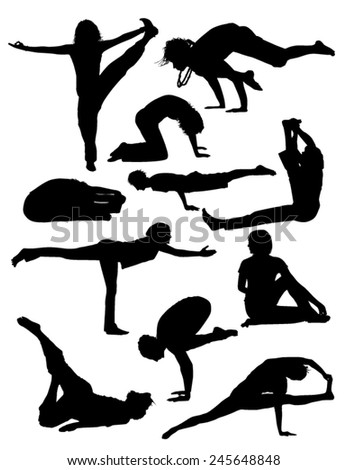 Set of Yoga Silhouettes - stock vector