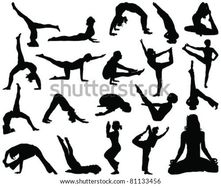Set of yoga silhouettes-vector