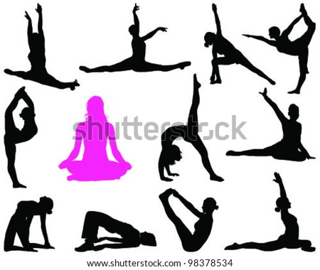 Set of yoga silhouettes-vector - stock vector