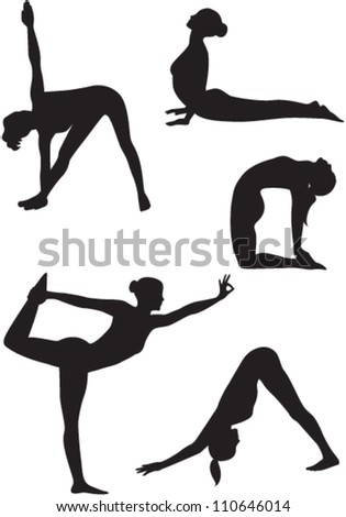 Set of yoga women icons. Vector - stock vector