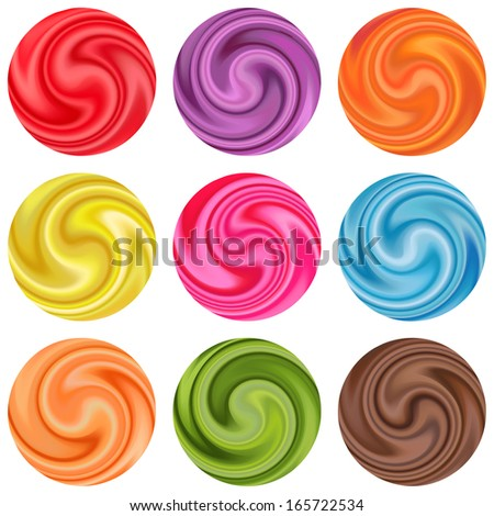 Set of yogurt cream curl or lollipop or a piece of silk fabric. Vector illustration for sweet elegant design. Bright red, blue, yellow, green, pink, orange, brown, purple, chocolate and white color. - stock vector