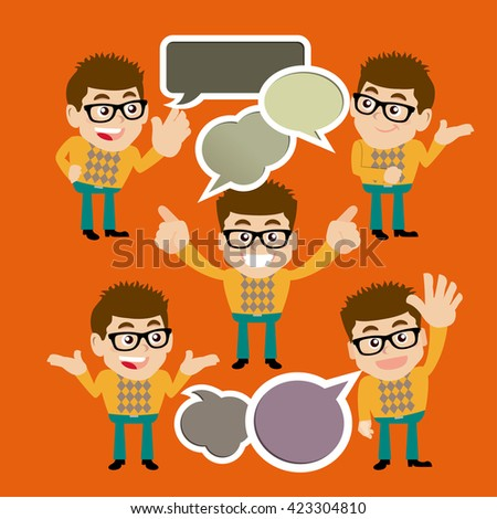 Set of young man - stock vector