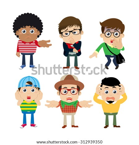 Set of young man characters in hipster fashion clothes - stock vector
