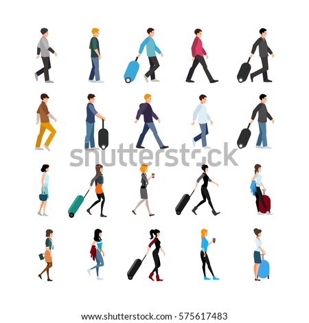 Set of young people in clothing of various style with baggage or coffee isolated vector illustration