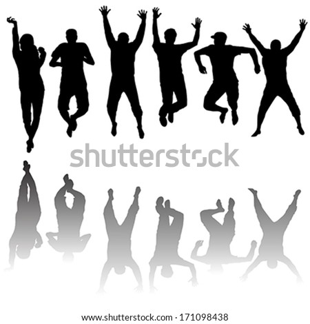 Set of young people silhouettes jumping - stock vector