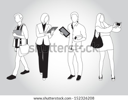 set of young trendy people using smart phones and devices - stock vector