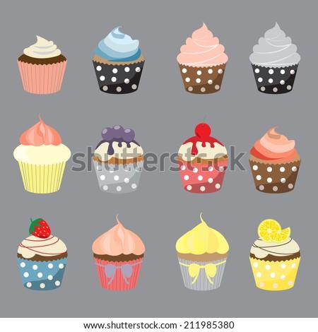 set of yummy cupcake, vector EPS 10  - stock vector