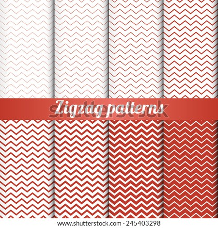 Set of 8 zigzag patterns with various density vector - stock vector