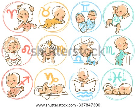 Set of zodiac icons.  Horoscope signs as cartoon characters. Cute baby boys and girls as astrological symbol. Colorful vector illustration. Baby in diaper, crawling, sitting, smiling, sleeping baby. - stock vector