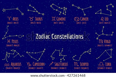 Set of zodiac signs and constellations. Vector collection of blue backgrounds zodiac Pisces, Scorpio, Libra, Aquarius, Capricorn, Cancer, gemini, virgo, aries, aquarius, leo, taurus on starry sky - stock vector