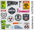 Set of zombie signs, graphics, and related logo symbols - stock vector
