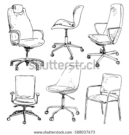 Set Office Chairs Isolated On White Background Sketch Different ChairsVector Illustration