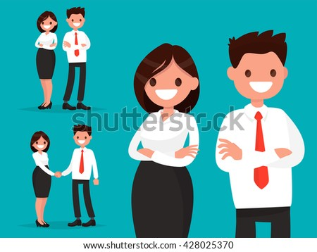 Set office characters. Business couple together and shake hands. Vector illustration of a flat design - stock vector
