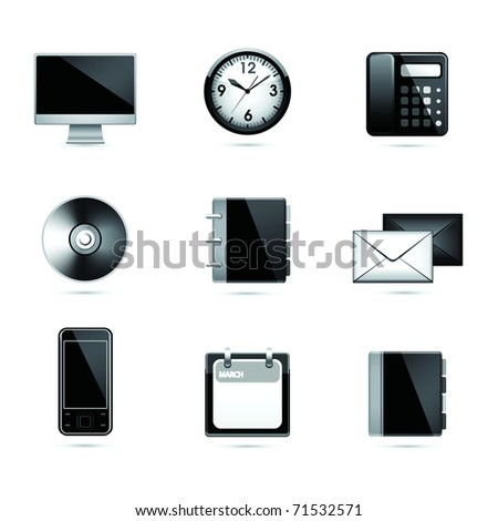 Set office end business black icons. Vector . - stock vector