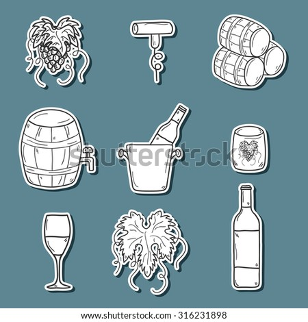 Set ofk cartoon wine stickers in hand drawn style: bottle, glass, barrel, grapes, corkscrew. Vineyard or restaurnt concept for your design - stock vector