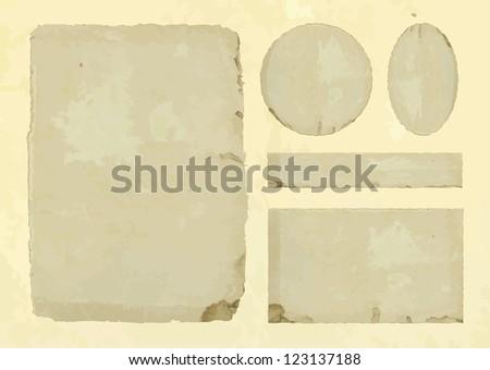 Set old paper textures elements - stock vector
