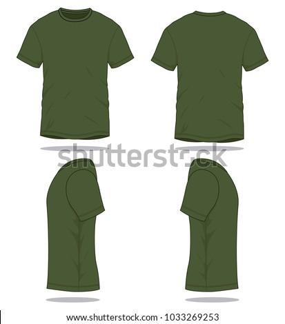 Set Olive Green T Shirt Vector Stock Vector 1033269253 - Shutterstock