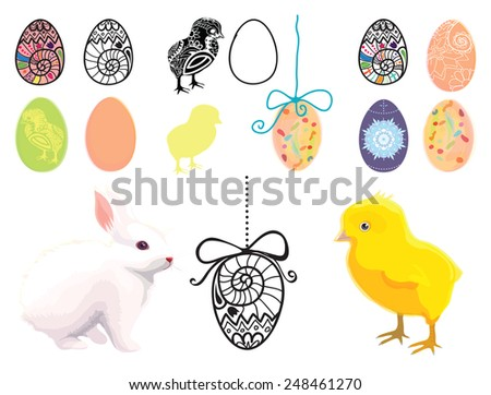 Set on easter theme - stock vector