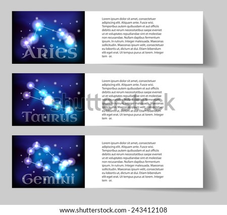 Set or collection horoscope or zodiac or constellation aries, taurus, gemini - stock vector