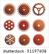 Set or different design gears with rust texture. - stock photo