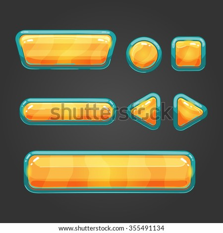 Set orange  button in cartoon style. Button for web or game design.