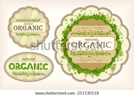 Set organic label - Illustration - stock vector