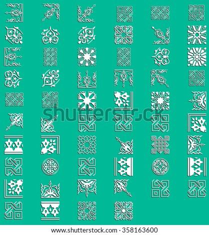 Set Ornament Pattern. Snowflakes. Vintage decorative elements. Hand drawn background. Islam, Arabic, Indian, ottoman motifs.  - stock vector