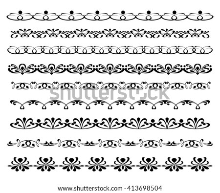 Set ornamental borders. Vector decorative elements.Black.