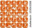 Set os orange sport icons - stock vector