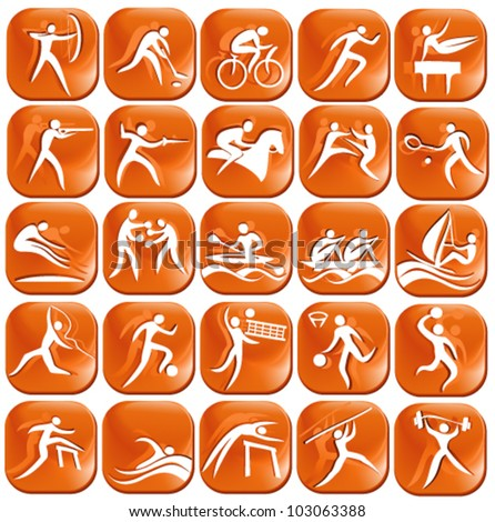Set os orange sport icons - stock vector