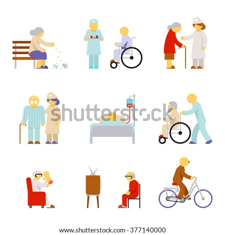 Set os senior health care service icons in flat style. Vector illustration - stock vector