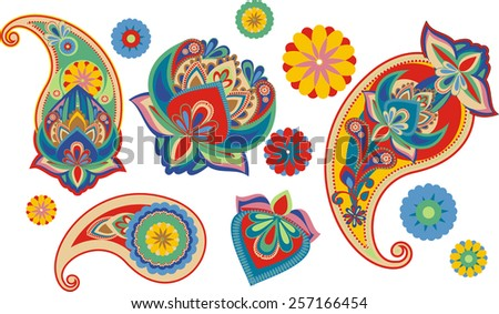 set os traditional Asian elements Paisley - stock vector