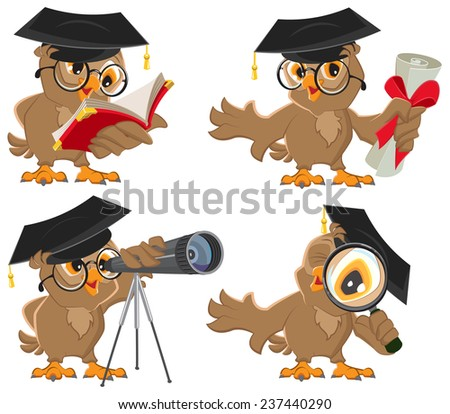 Set owl. Illustration in vector format isolated - stock vector
