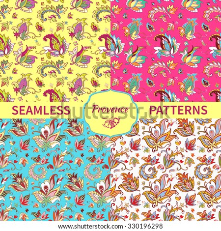 Set Paisley seamless pattern for design of packaging, fabric, textile, wrapping paper, wallpaper, web design. Vintage flowers background. Vector illustration