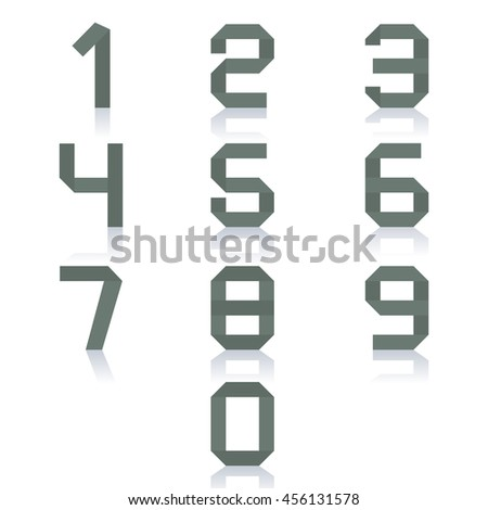 Set paper numbers from zero to nine, isolated on white background with mirror reflection, vector illustration. - stock vector