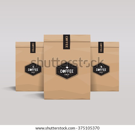 set paper package design mock up template.cafe and restaurant packaging.  coffee badge logo  - stock vector