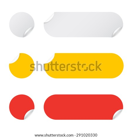 Set paper stickers on white background. Vector illustration - stock vector