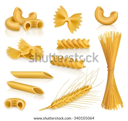 Set pasta, vector icons - stock vector
