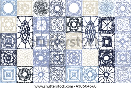 Set patchwork knitted with a New Year's snowflake motif. Knitted lace, lace pattern crochet, macrame. Floral seamless pattern with a fringe border knitted or woven macrame in boho style, chevron - stock vector